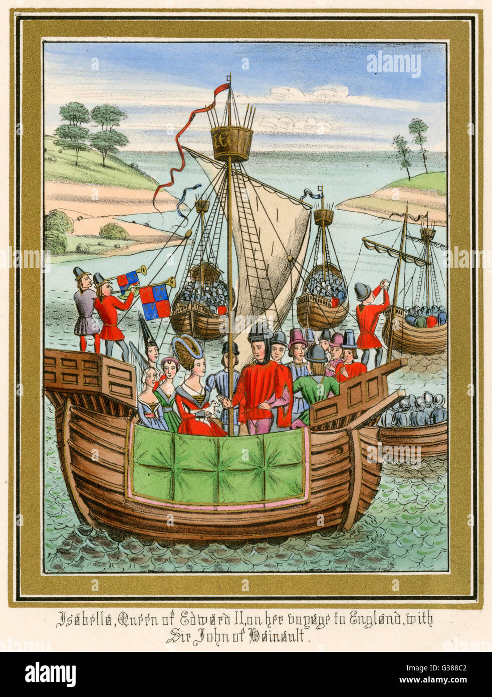 Fleet of sailing vessels  employed to carry Isabella of  Hainault from France to  England, to wed Edward II     - Stock Image
