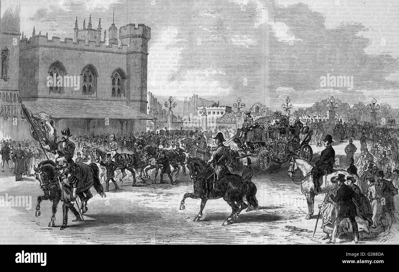 The Lord Mayor's procession  entering New Palace-Yard         Date: 1868 - Stock Image
