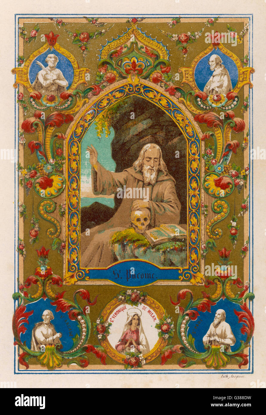 SAINT PACOMIUS  Greek founder of monastic  communities       Date: 292 - 348 - Stock Image