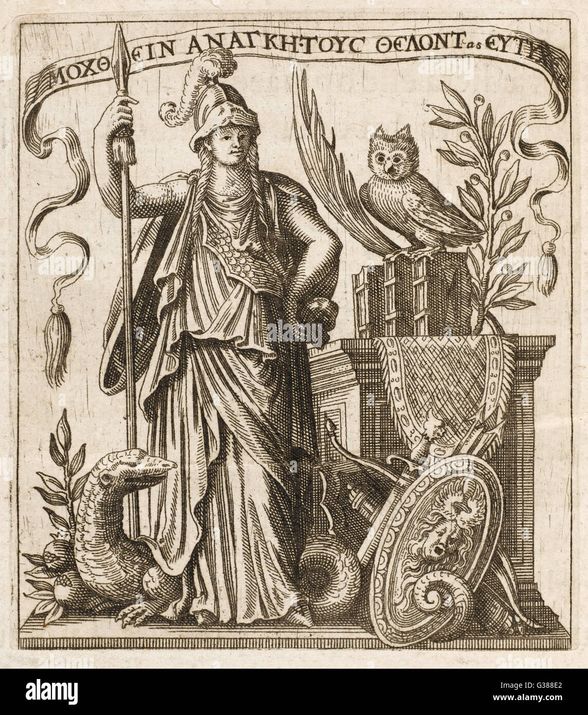 The Greek goddess of wisdom,  with her owl and a a dragon - Stock Image