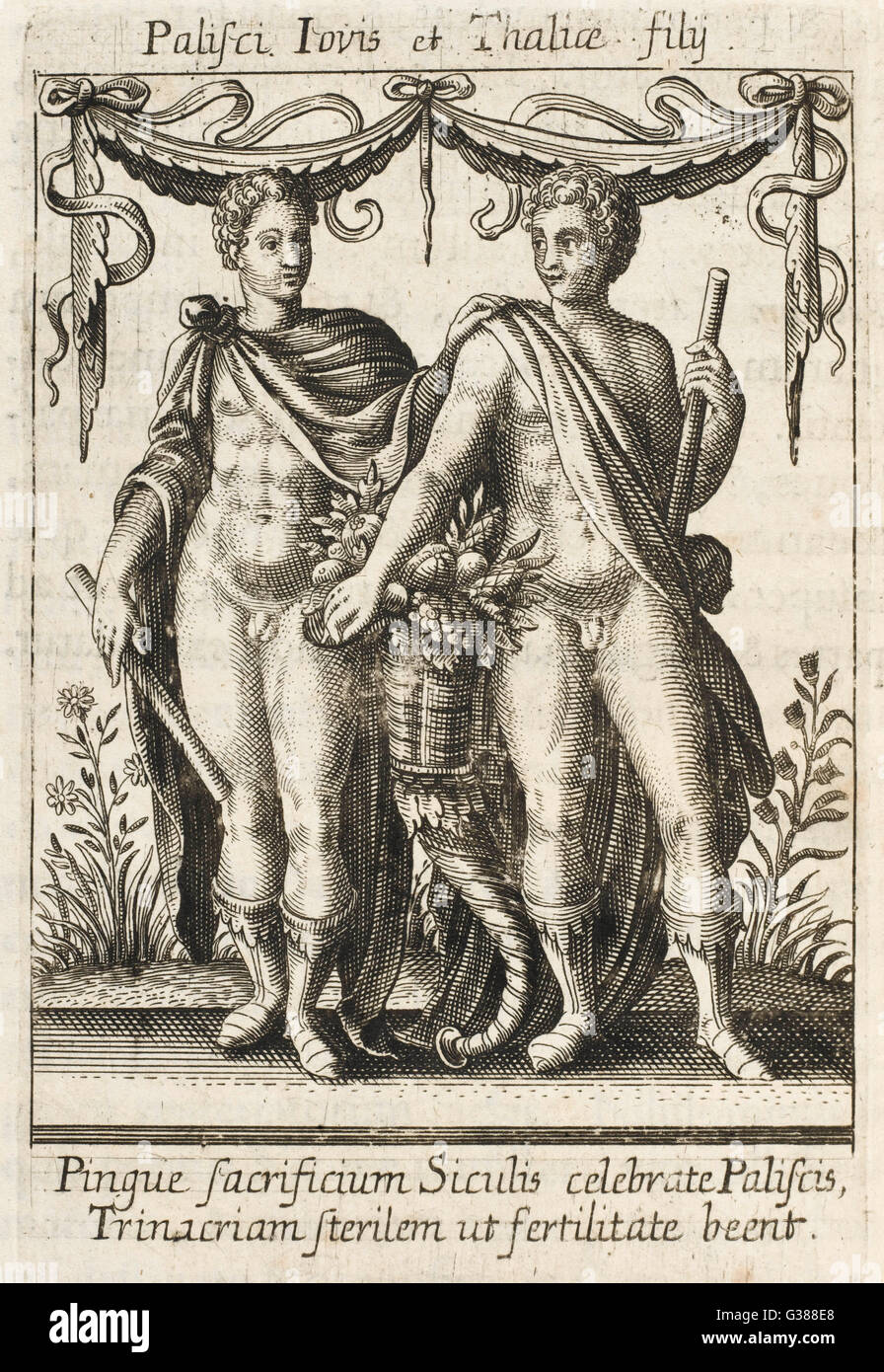 The PALICI, sons of Zeus and  Thalia, whose oracle was  consulted for matters of  sterility and fertility - Stock Image
