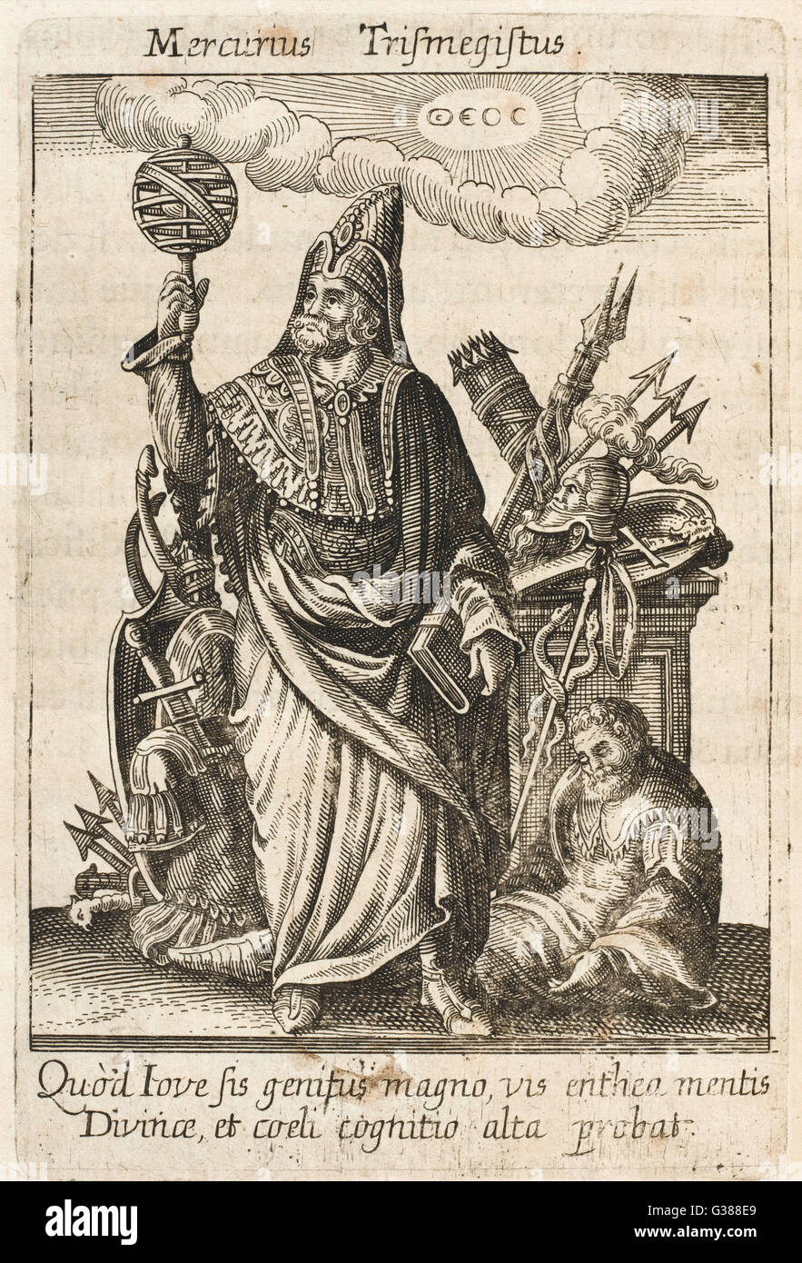 The messenger of the gods, but  here as HERMES TRISMEGISTUS (=  thrice-greatest), perceived by  Neoplatonists as Stock Photo