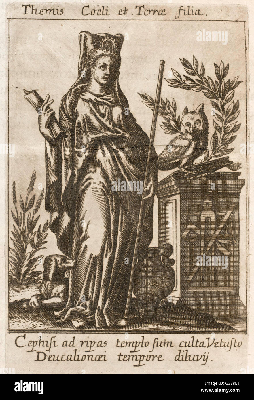 Greek/Roman deity, protectress  of hospitality and of the  oppressed, possessed oracular  powers - Stock Image