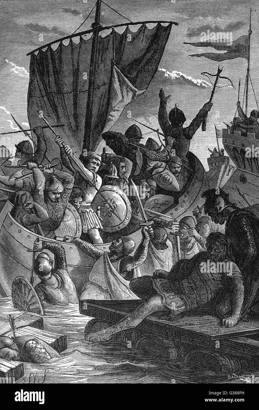 Venetians in conflict with the  Franks        Date: 787 - Stock Image