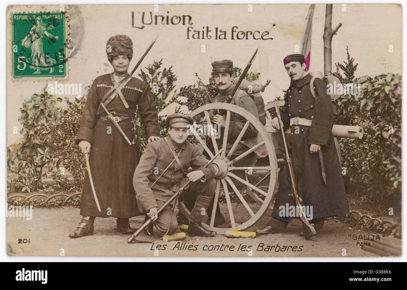 The Allies against the Barbarians        Date: 1915 - Stock Image