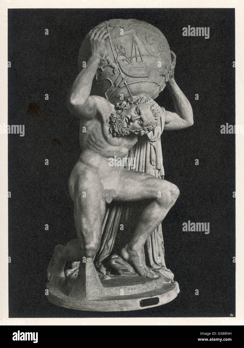 statue of Atlas bearing the  globe, known as the Farnese  Atlas, in the Museo Nazionale  of Napoli ; the fig leaf - Stock Image