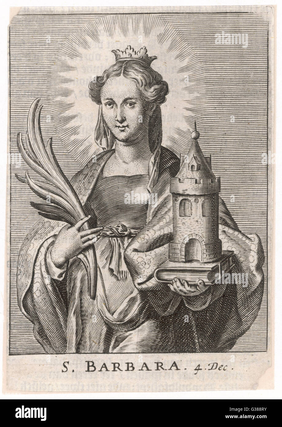 SAINT BARBARA carrying a tower to symbolise  the one in which her cruel  father imprisoned her because  she insisted - Stock Image