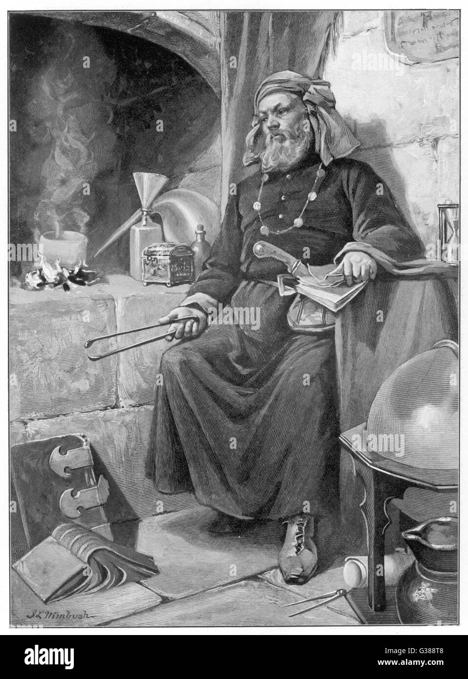 Alchemist at work in his  laboratory         Date: Middle Ages - Stock Image