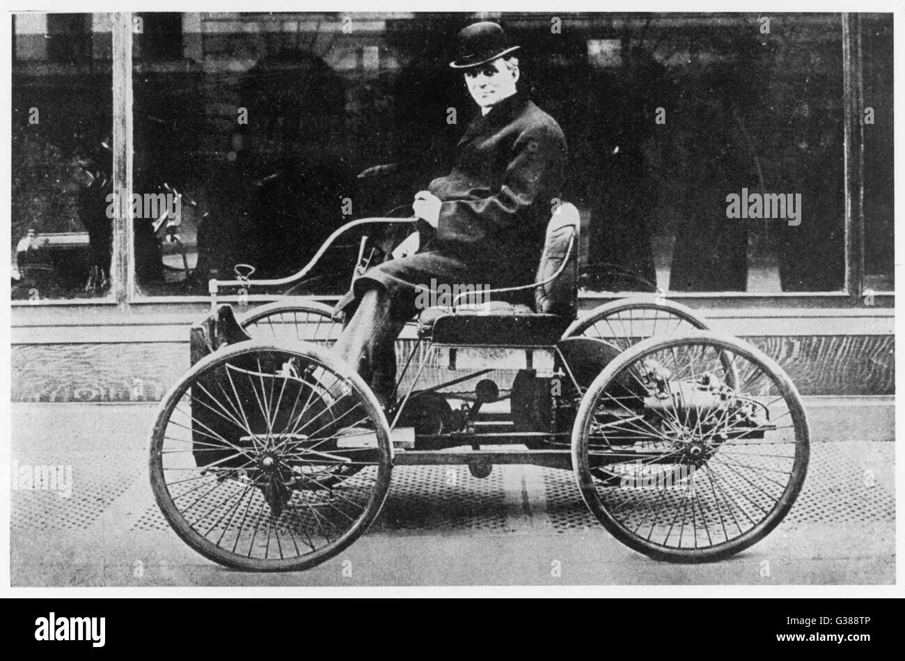 Henry Ford with his first  model        Date: 1892 - Stock Image