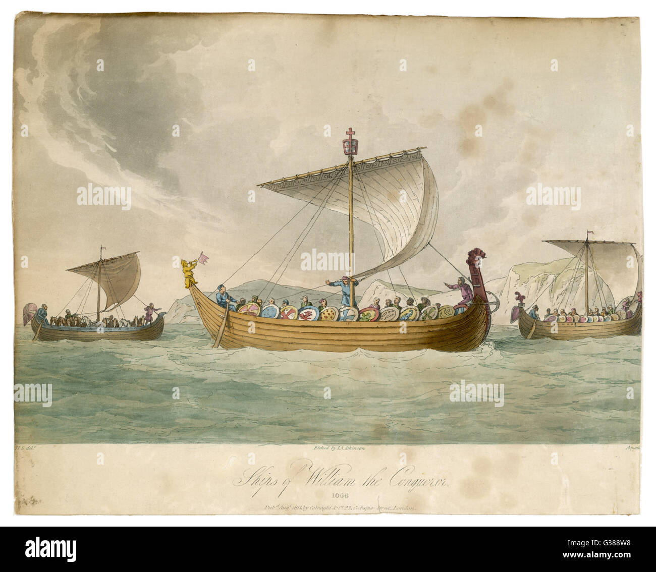 Ships of William the Conqueror  sailing to battle         Date: 1066 - Stock Image