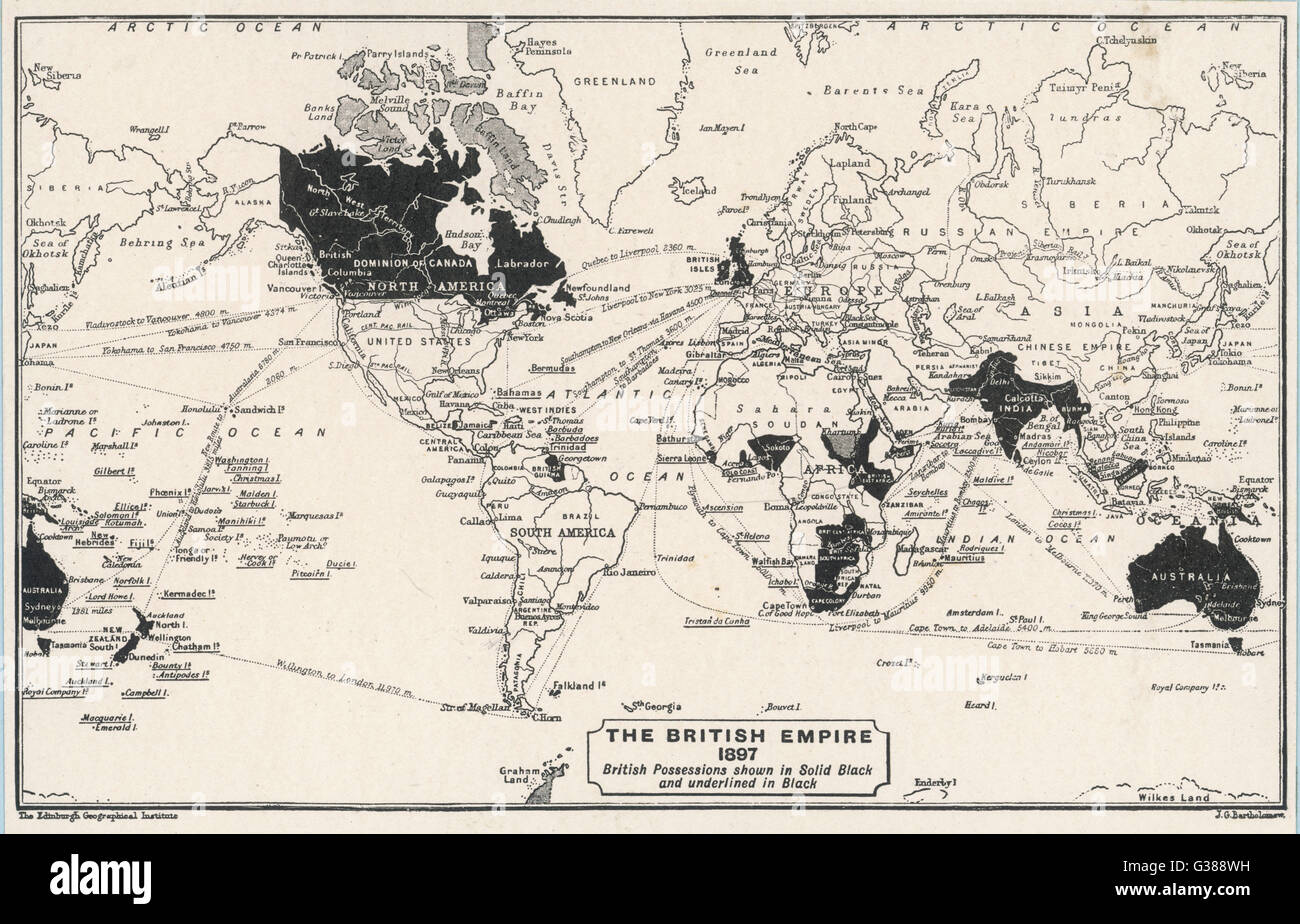 Map of the world showing  British Empire possessions         Date: 1897 - Stock Image