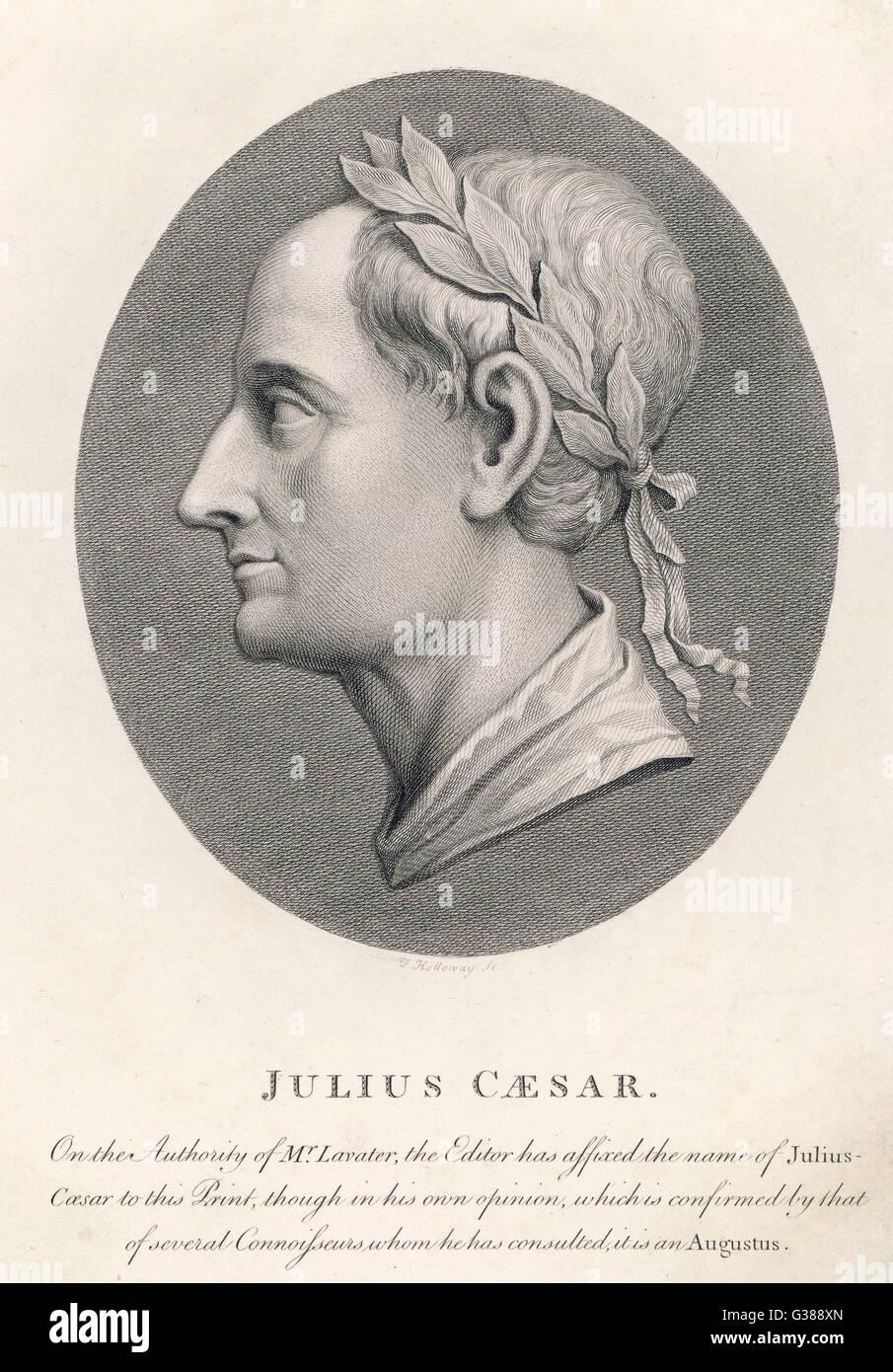 GAIUS JULIUS CAESAR Roman Emperor         Date: 100 - 44 BC - Stock Image