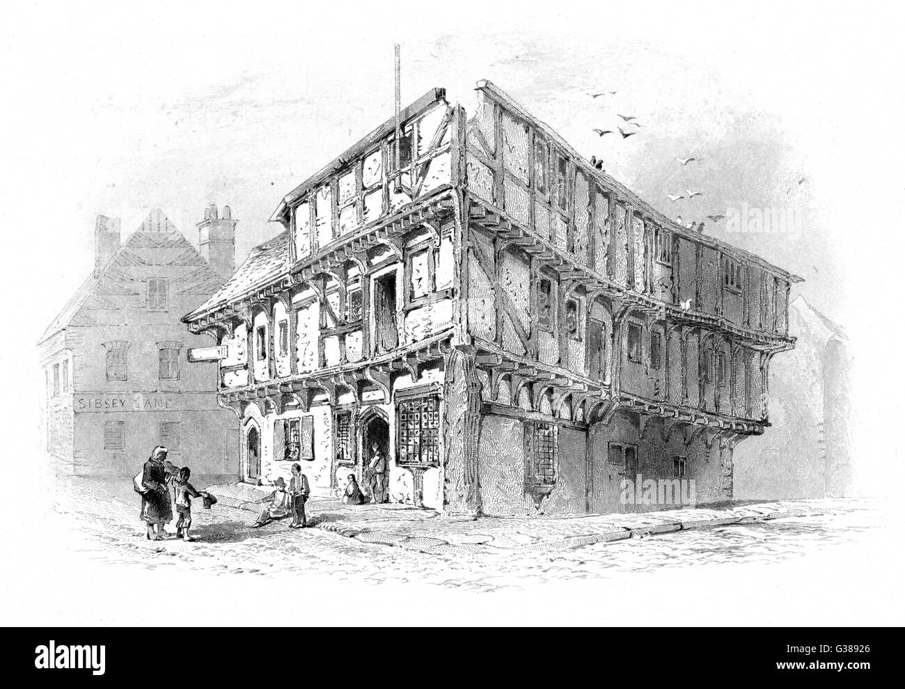 Old house, probably 14th to  15th century, in Boston,  Lincolnshire, England        Date: 15th century - Stock Image