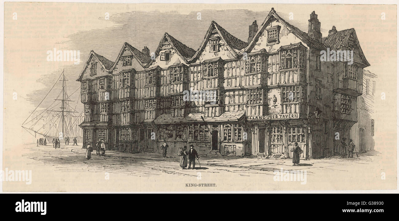 Old buildings, probably 15th  century, King St, Bristol.         Date: 15th century - Stock Image