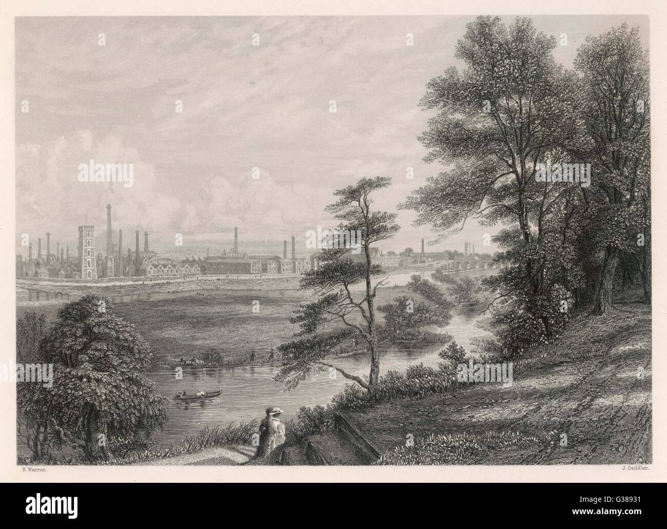 The industrial landscape at Burton on Trent.         Date: Circa 1840 Stock Photo