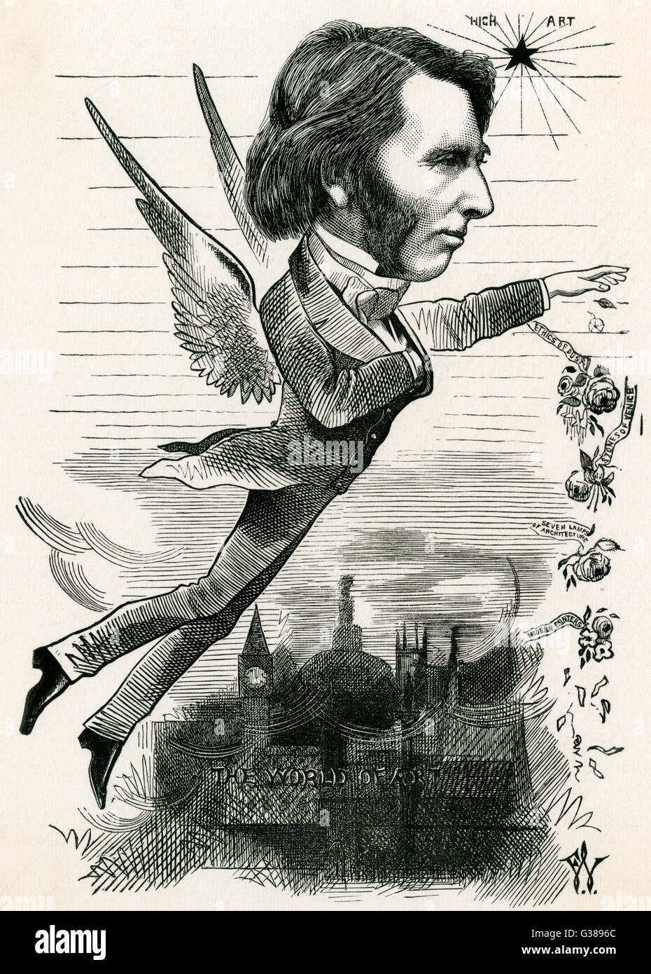 JOHN RUSKIN  English art critic and writer,  soaring above sordid reality  in an ideal world of esthetic  exclusiveness... - Stock Image