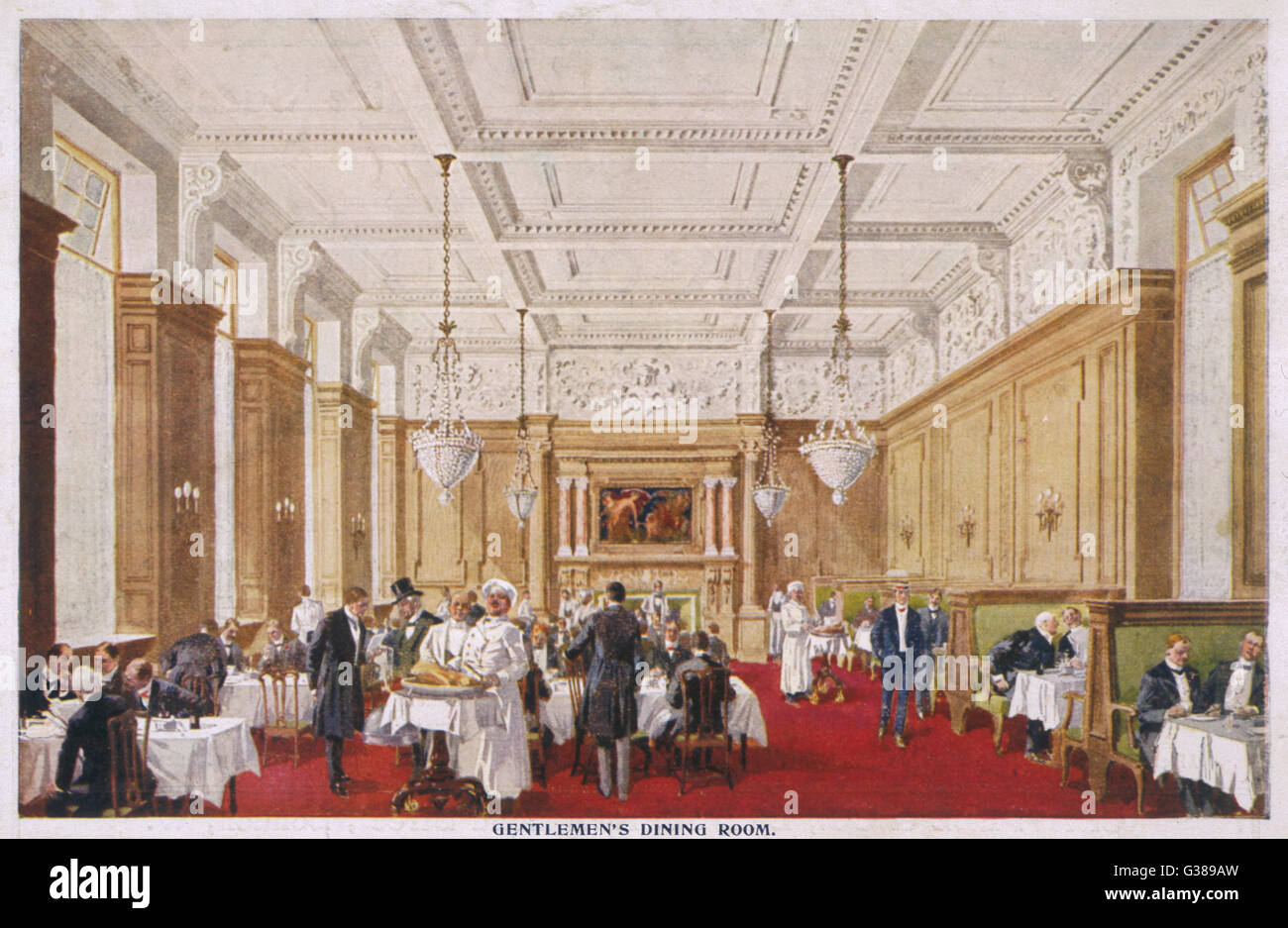 Dining at fashionable  Simpson's restaurant in the  Strand : the Gentlemen's  Dining Room       Date: circa - Stock Image