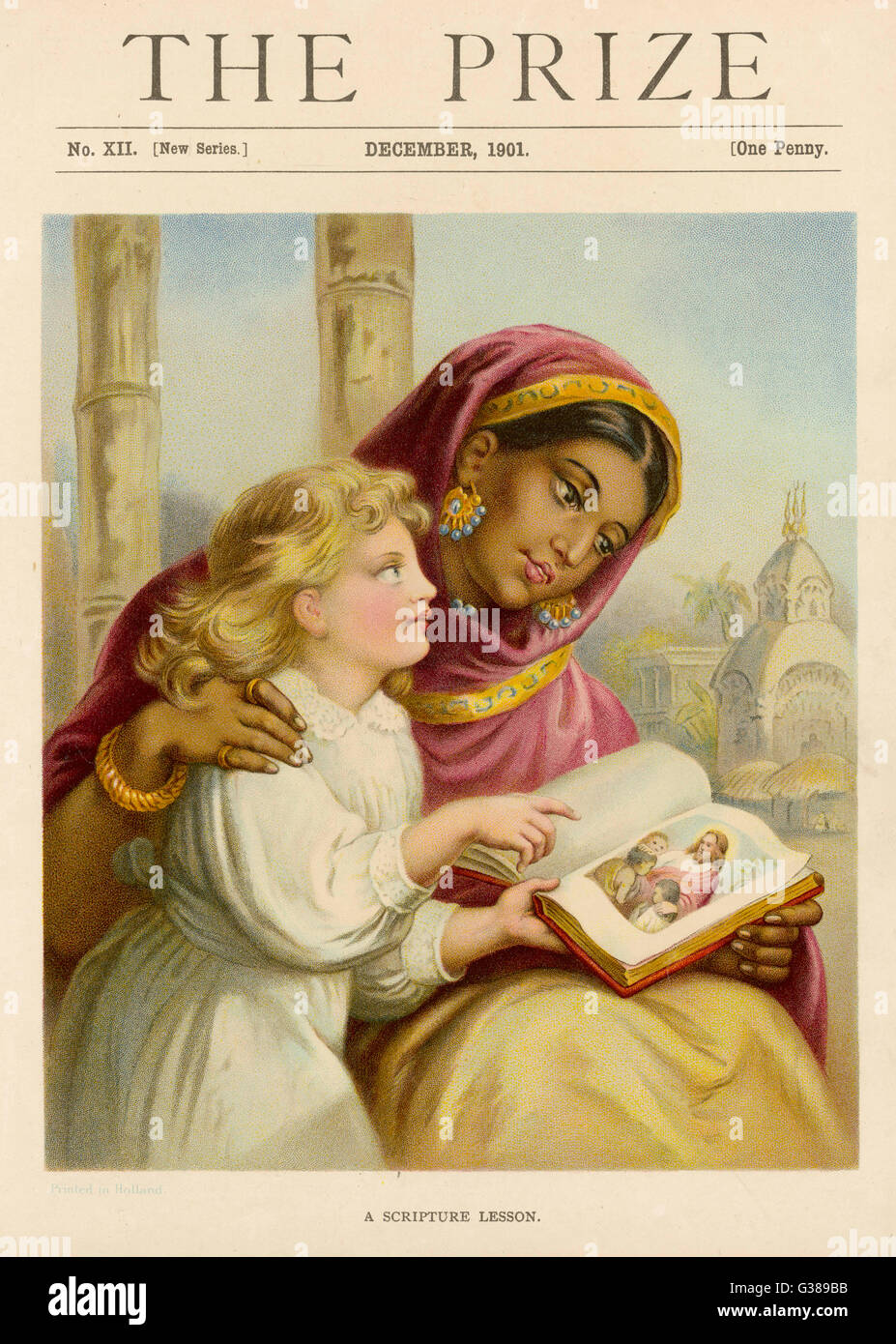 A little white girl gives a  scripture lesson to an Asian woman, with the aid of an  illustrated bible.       Date: - Stock Image