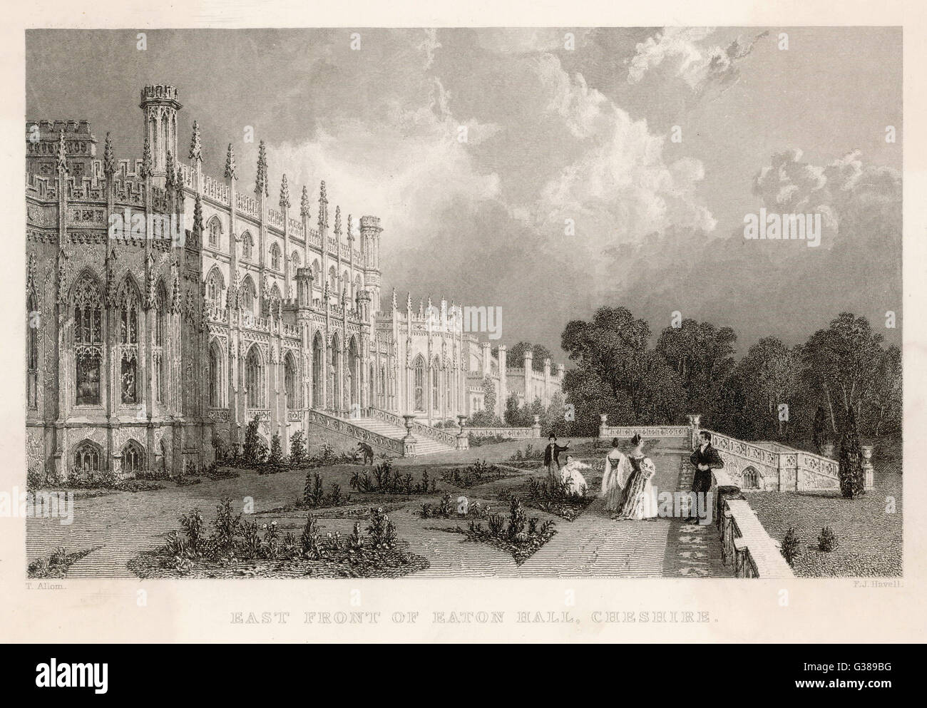 East front of Eaton Hall,  Cheshire.         Date: 1836 - Stock Image