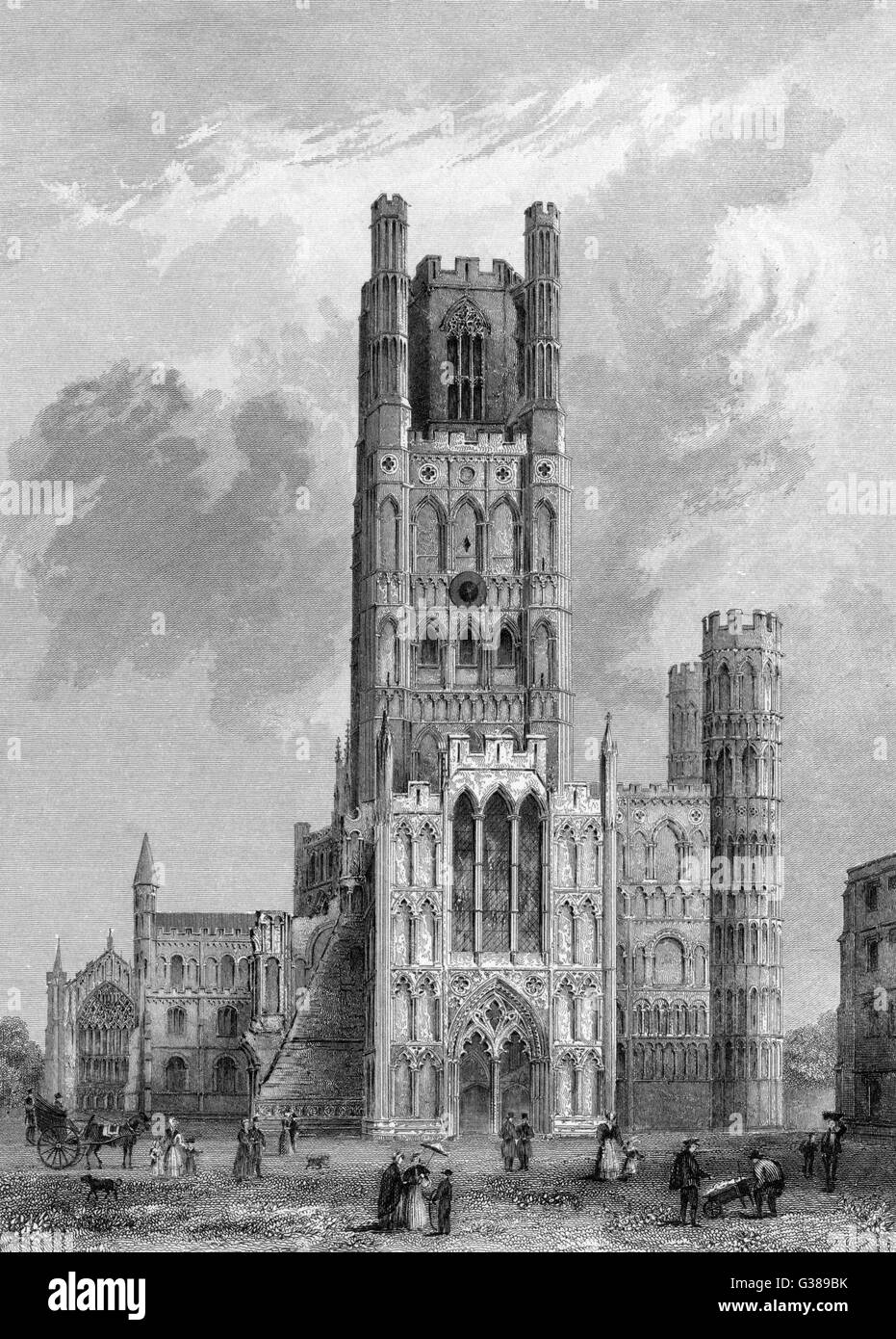 The front of Ely Cathedral.          Date: 1836 - Stock Image