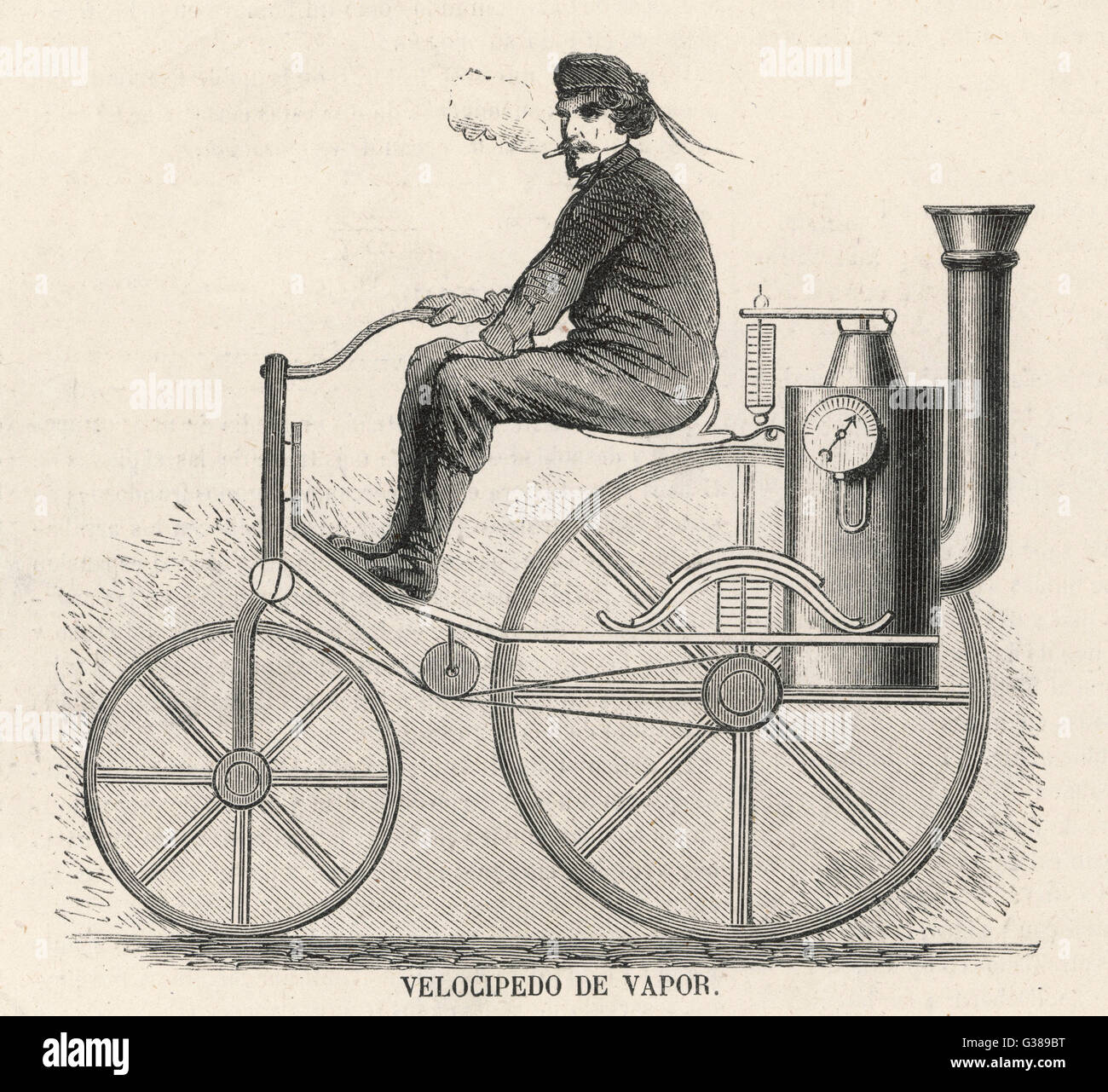 An American steam-powered  motor-cycle         Date: 1870 - Stock Image
