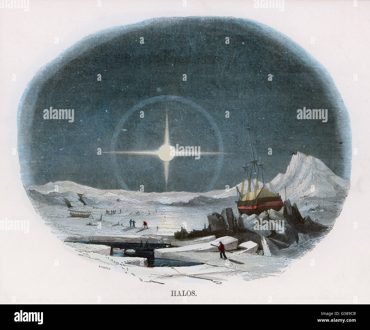 Arctic scene with lunar halo          Date: c1860 - Stock Image
