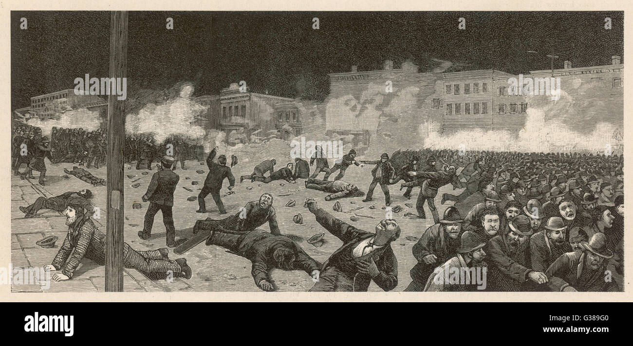 CHICAGO RIOTS Stirred up by fiendish  anarchists, workers riot - and have to be put down with  brutal force - dispersing - Stock Image