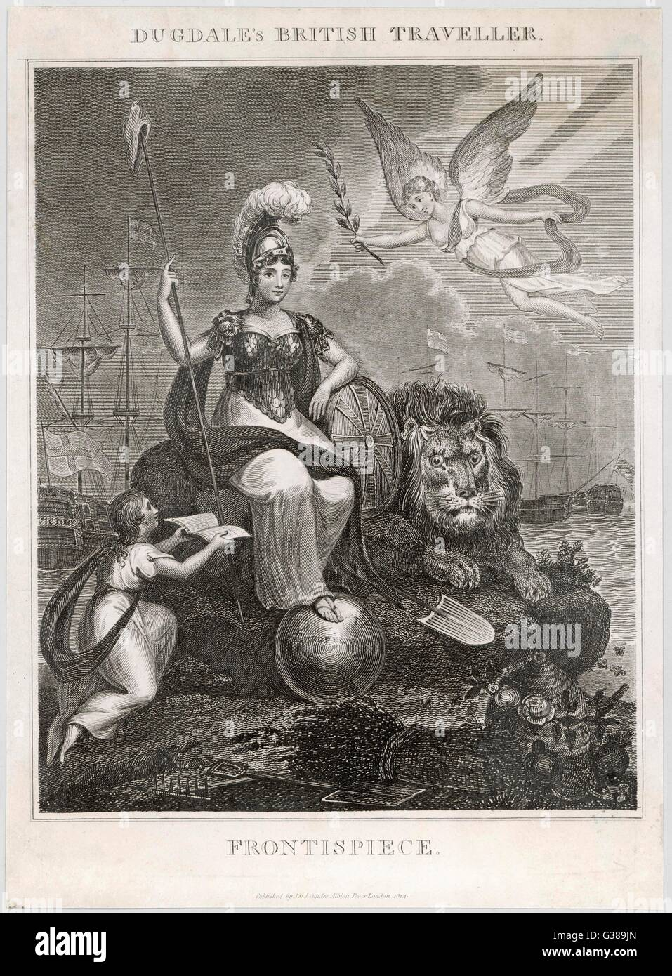 An imperious Britannia with  her foot on the shield of  Europe        Date: 1814 - Stock Image