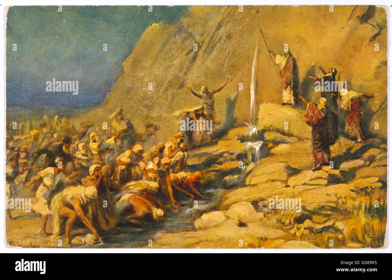 During the Exodus, Moses  strikes a rock and obtains a  supply of water for the  Israelites - Stock Image
