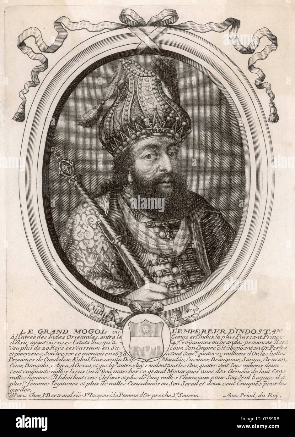 SHAH JAHAN I 'Le Grand Mogol, ou  l'Empereur d'Indostan'  Mughal emperor from 1628 to  1658     - Stock Image