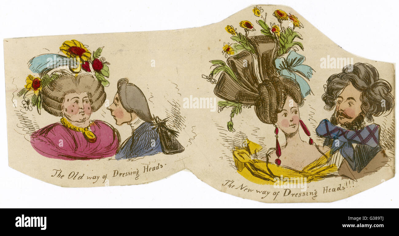 Hair dressing; the old and new  styles        Date: 1830 - Stock Image