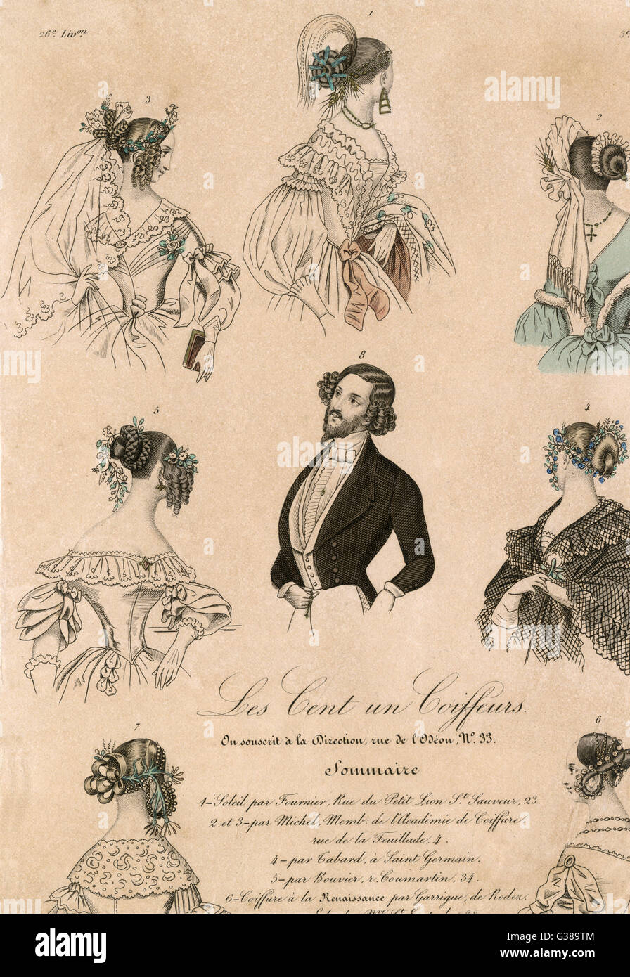 various hairs styles for men  and women        Date: 1838 - Stock Image