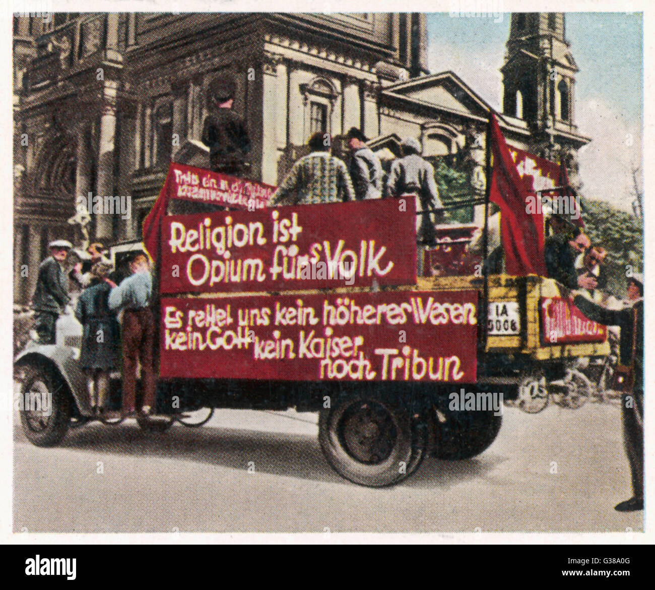 """Anti-religious propaganda by  German Communists: """"Religion  is the opium of the people.""""      - Stock Image"""