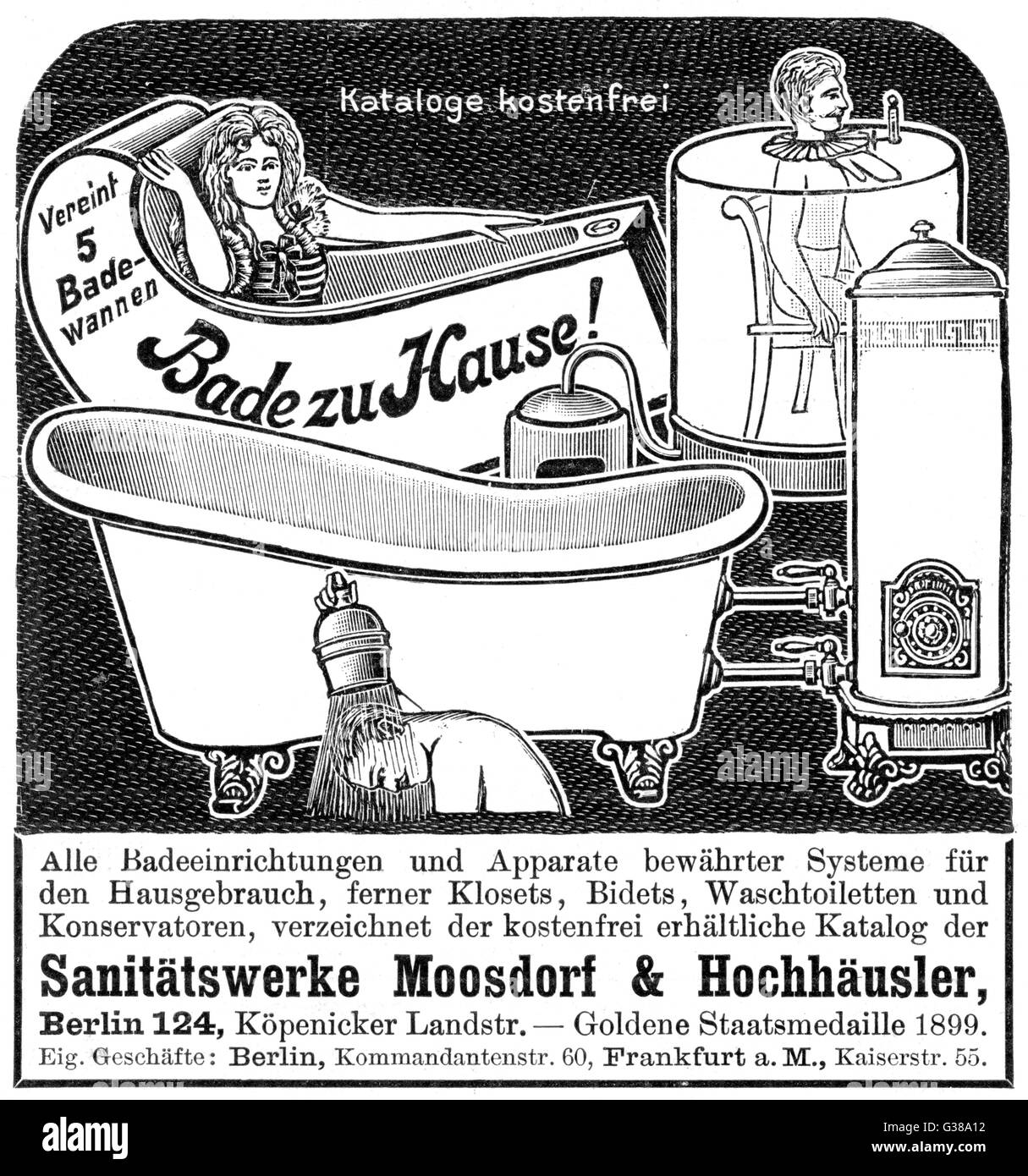 Advertisement for various  bathing devices          Date: 1900 - Stock Image