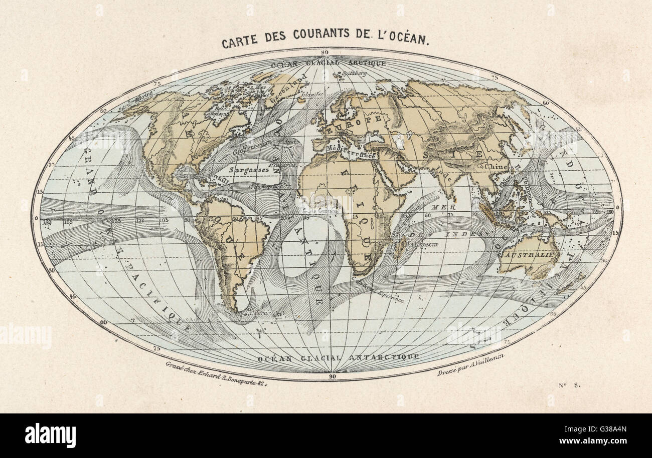 World Map With Currents.World Map Of The Ocean Currents Date Late 19th Century Stock Photo
