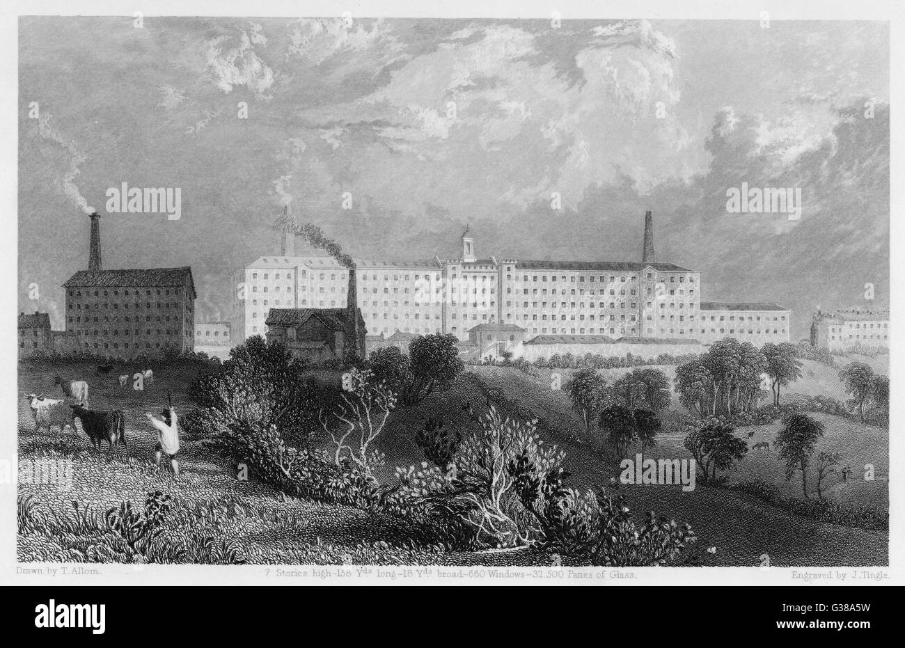 The cotton mills of Swainson,  Birley and Co. Preston,  Lancashire.       Date: 1835 - Stock Image
