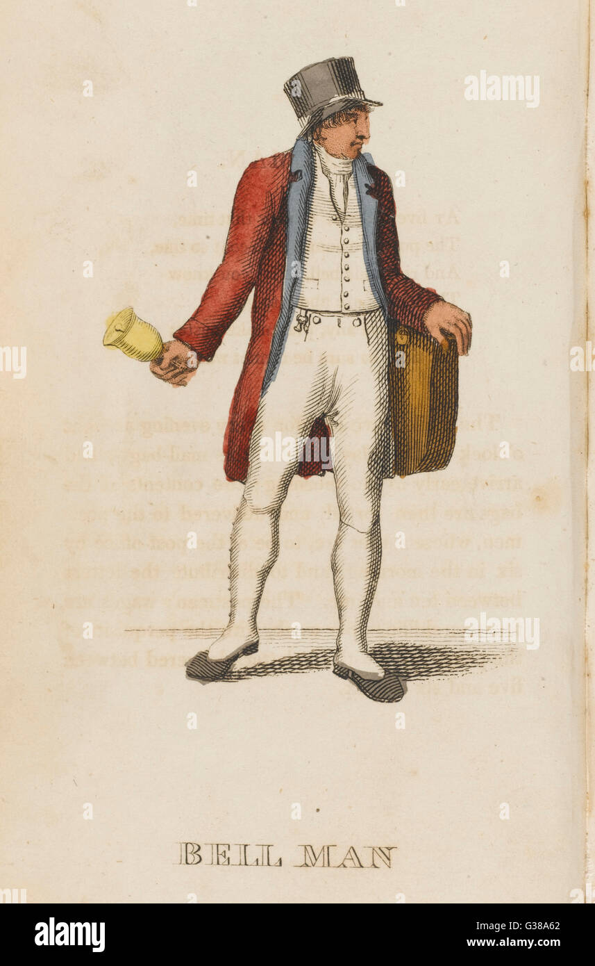 The bellman, or postman, rings  his bell to let you know that  the letters are about to go.        Date: 1823 - Stock Image