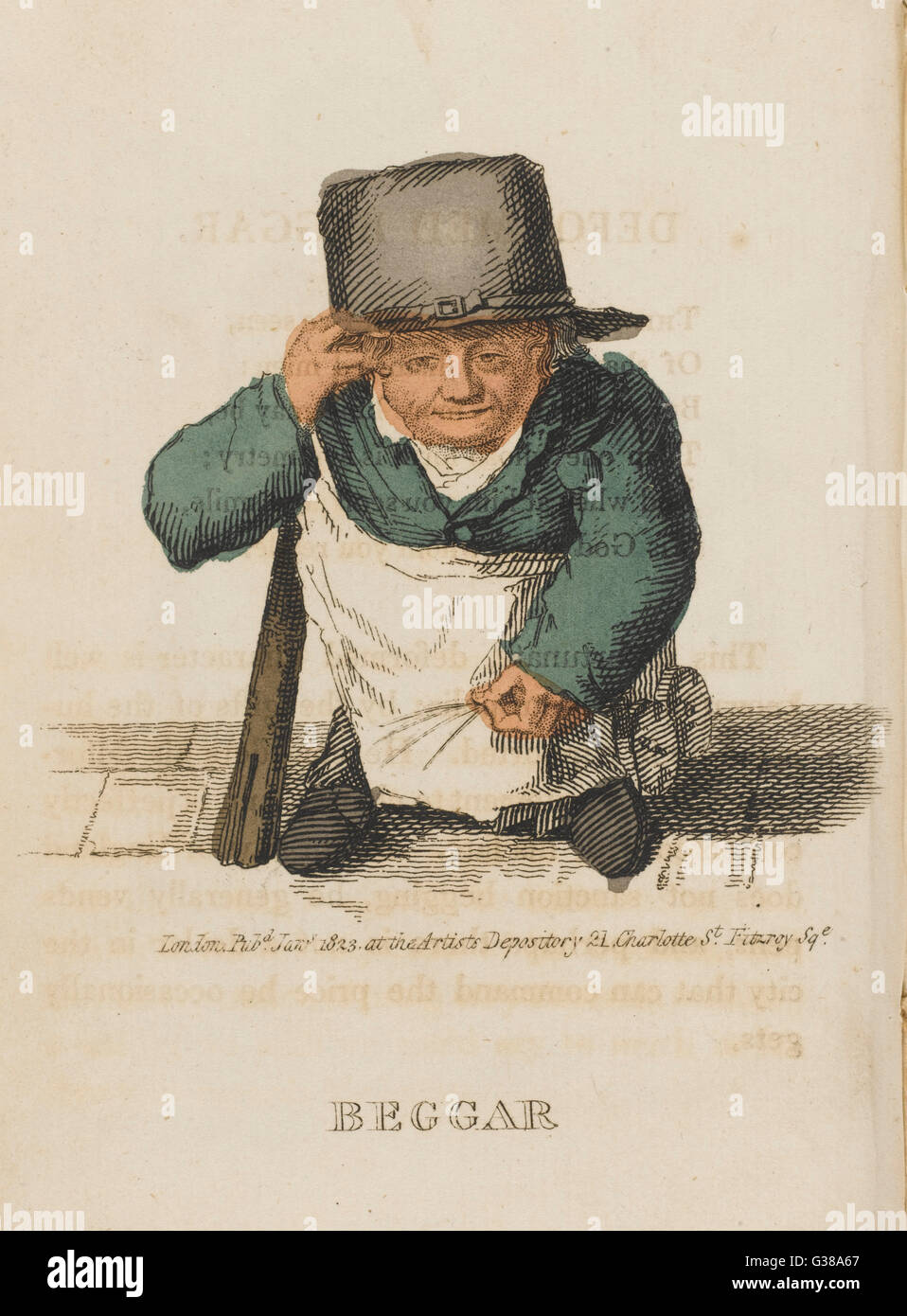 The deformed beggar often  sells pens as begging is not  sanctioned in England.        Date: 1823 - Stock Image
