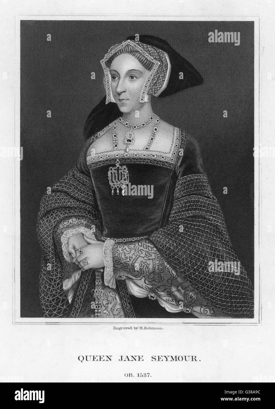 JANE SEYMOUR  3rd wife of Henry VIII; died in childbirth; mother of Edward VI      Date: 1509? - 1537 - Stock Image