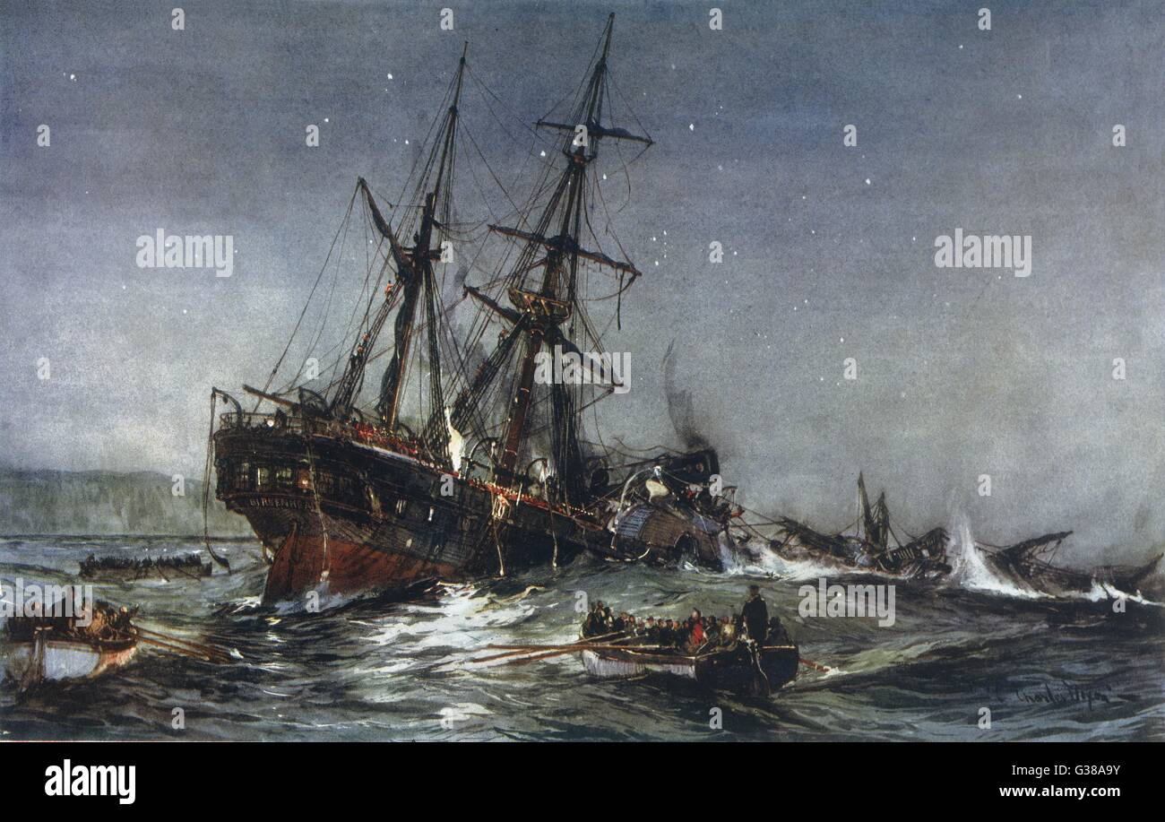 The sinking of the  'Birkenhead' troopship         Date: 1852 - Stock Image