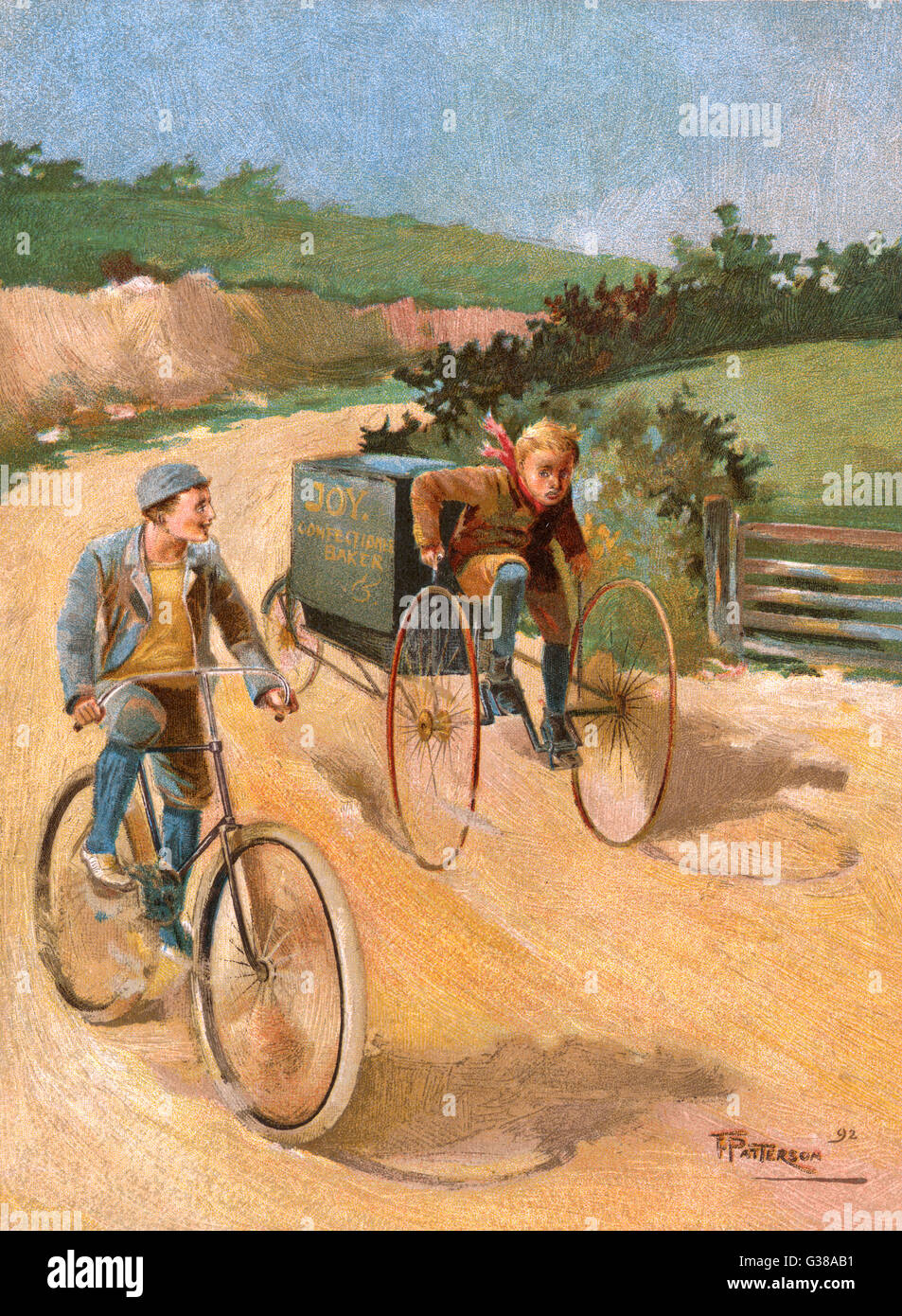Two boys are cycling on a  country road.  One is on a  conventional bicycle, while  the other is an errand boy  - Stock Image
