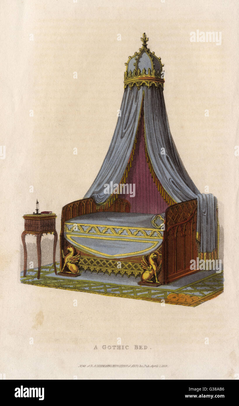 A bed in the Gothic style         Date: 1826 - Stock Image
