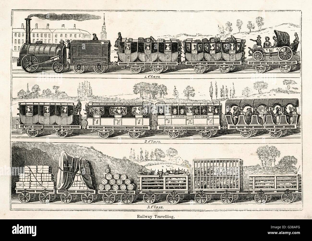 LONDON-BIRMINGHAM LINE Three classes of passenger  coach, and a variety of wagons  for freight and livestock.   - Stock Image