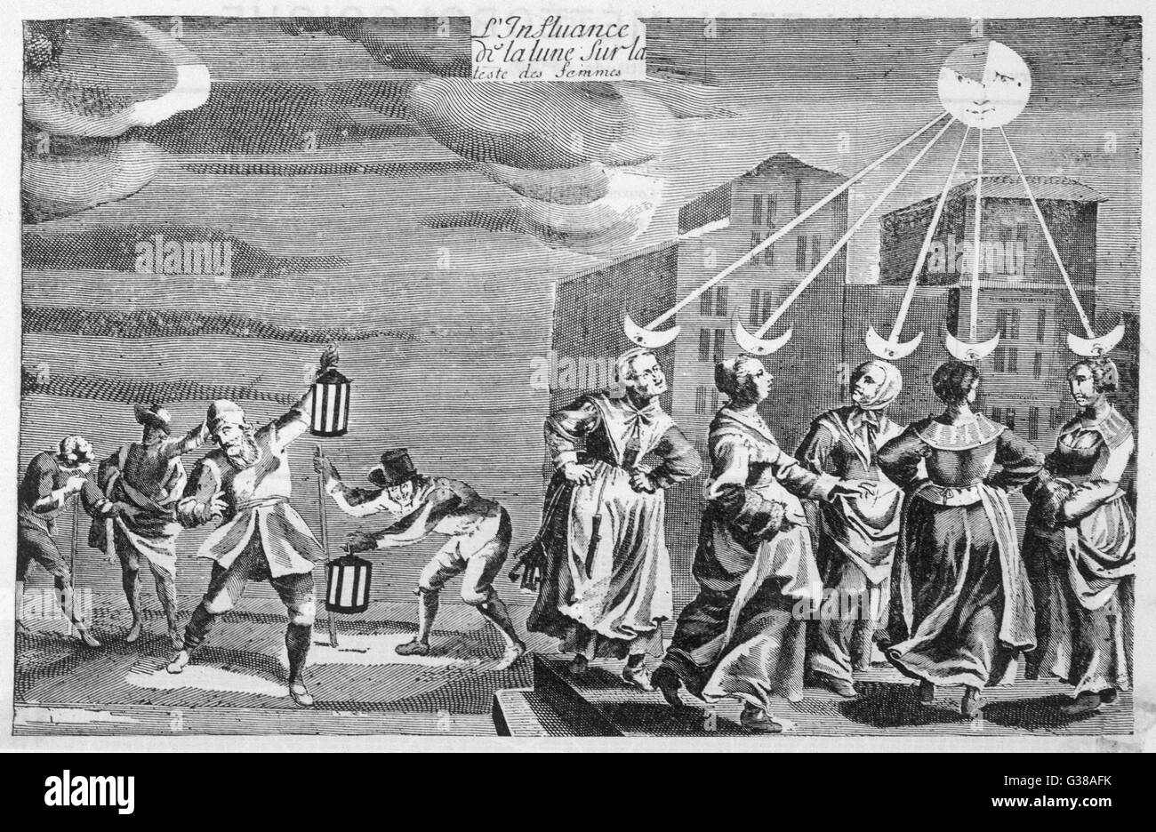 'The Influence of the Moon  on the Heads of Women' a 17th century caricature  which manages to be both  - Stock Image