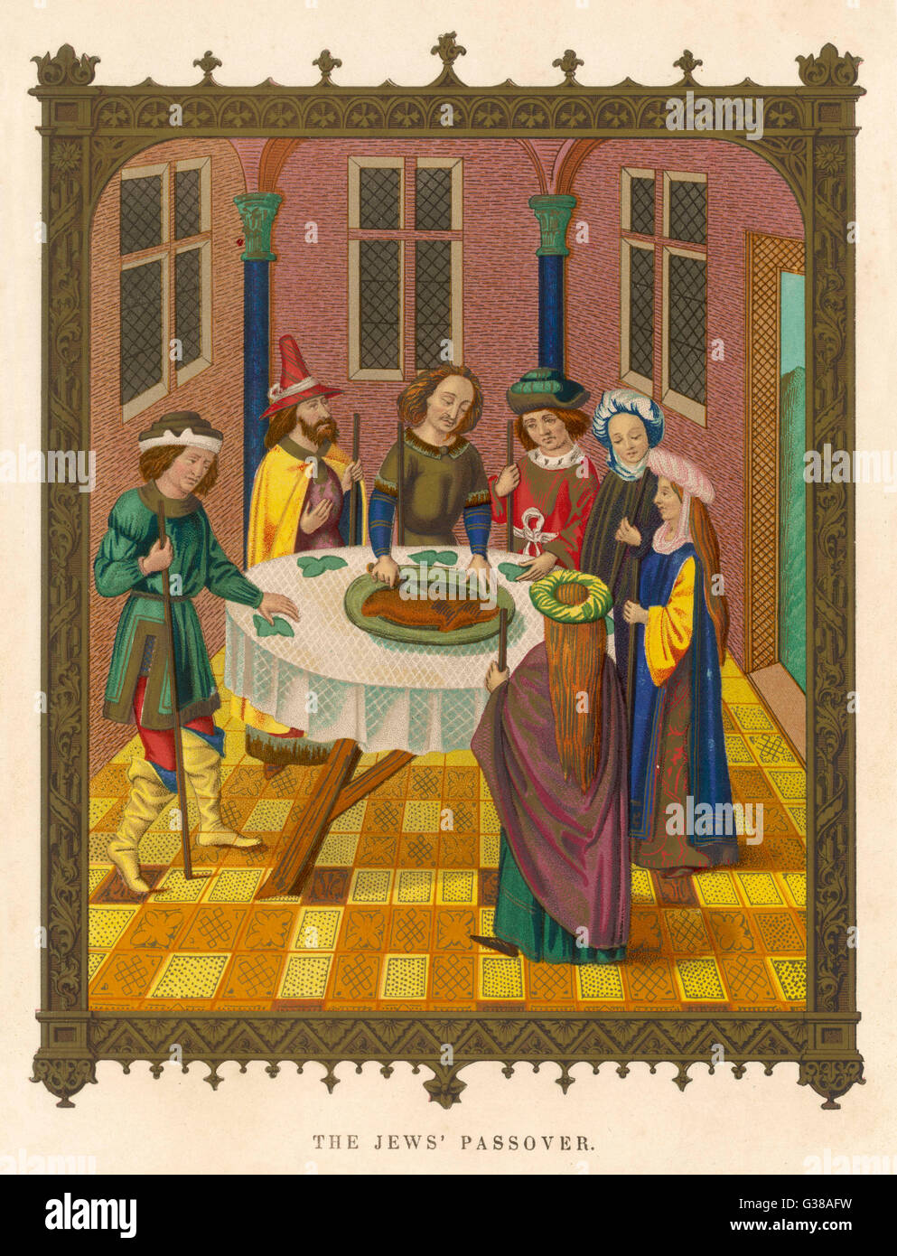 THE PASSOVER CEREMONY  OF THE JEWS        Date: 15th century - Stock Image