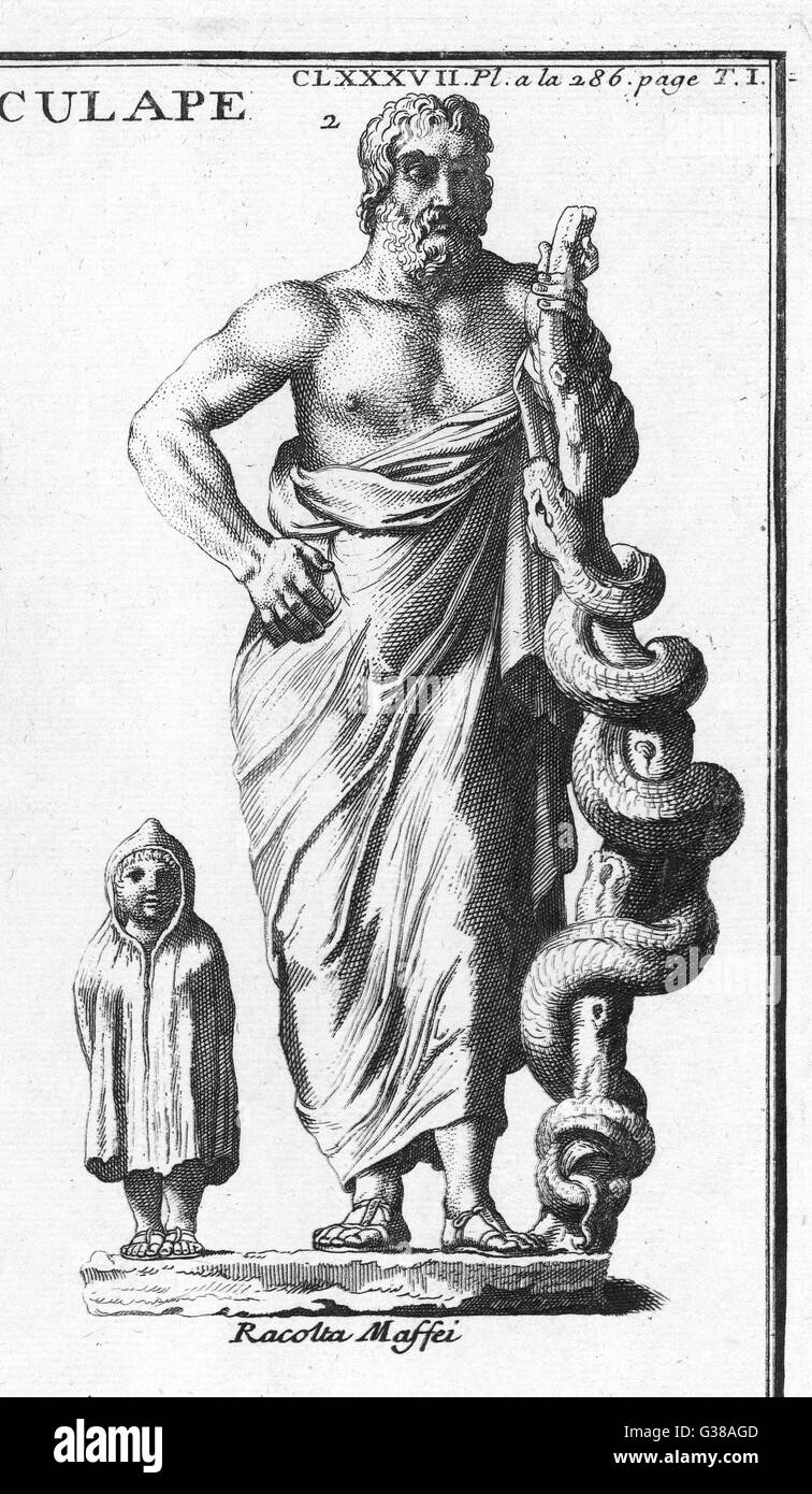 Greek - Roman god of medicine  and healing : the serpent  twined round a staff was his  attribute - Stock Image