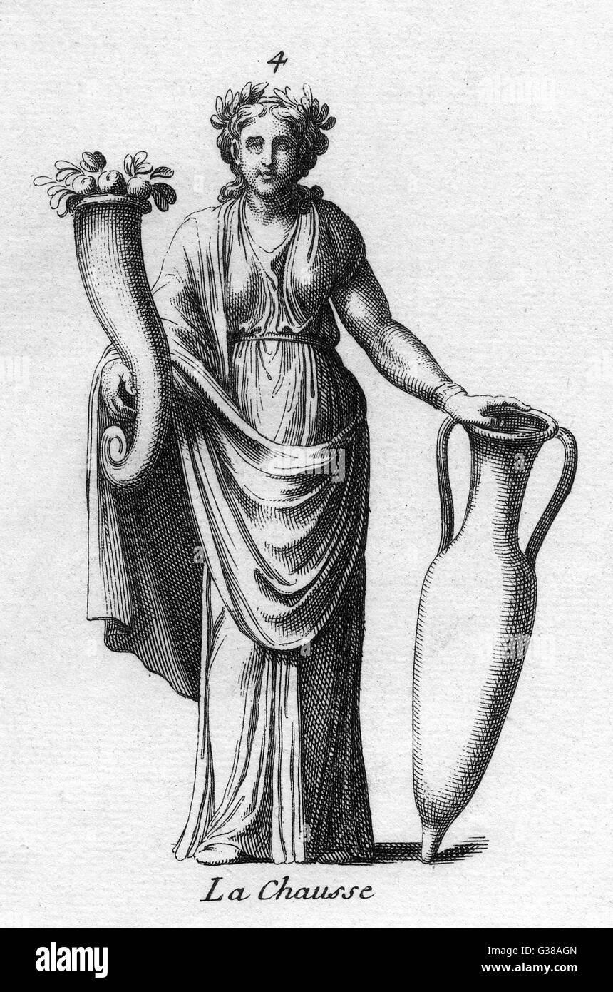 A goddess of antiquity -  probably Demeter / Ceres,  carries a cornucopia and an  amphora to signify abundance - Stock Image