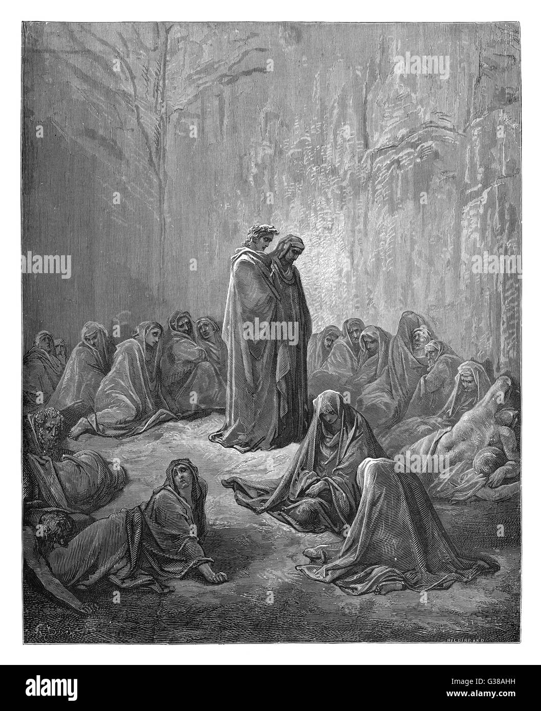 Dante and Virgil walk among  female souls in Purgatorio.        Date: First published: 1307-21? - Stock Image