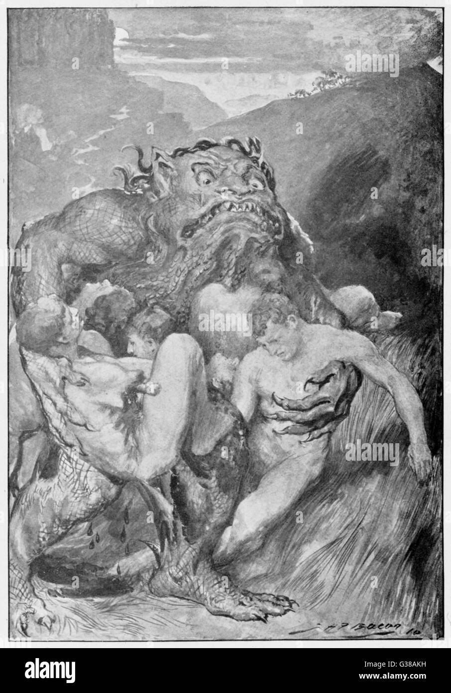 A scaly monster abducts  several unfortunate young men  with intent to devour them.  (Grendel the monster from the - Stock Image