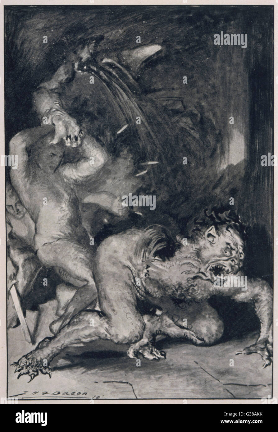 Beowulf, who has the strength  of thirty men, rips off the  arm of Grendel the monster. - Stock Image